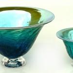 Dk green metallic crackle bowls