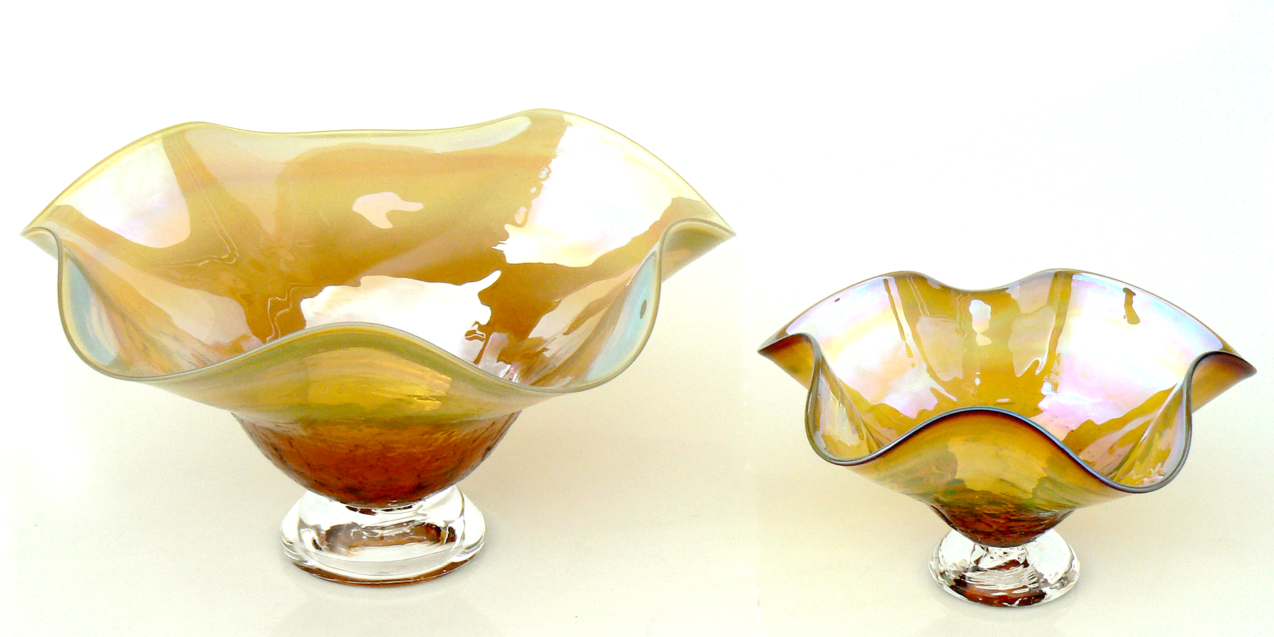 amber metallic candy dishes