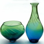 blue and green bubble vessels