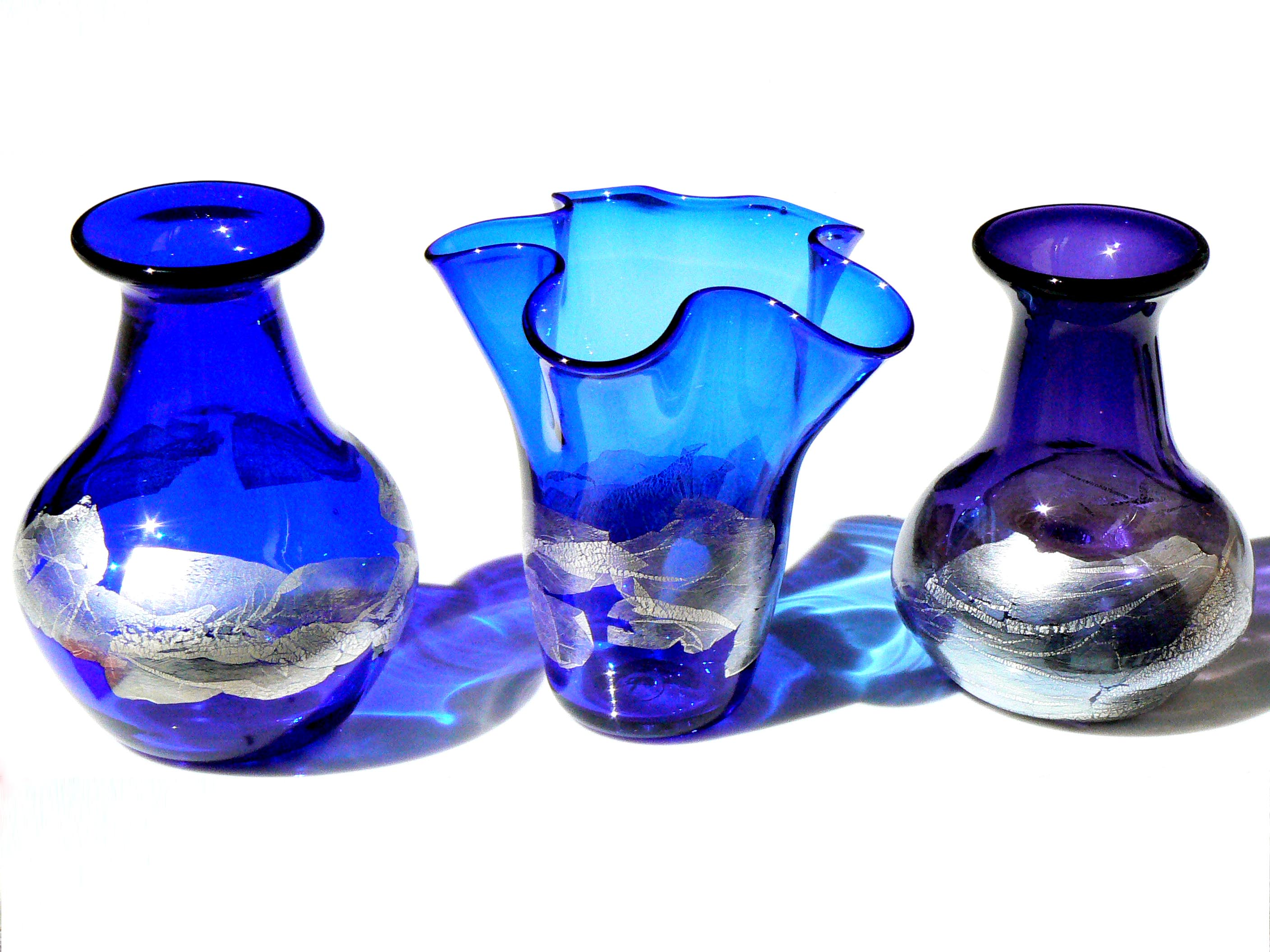 blue and purple mini silver leaf vases