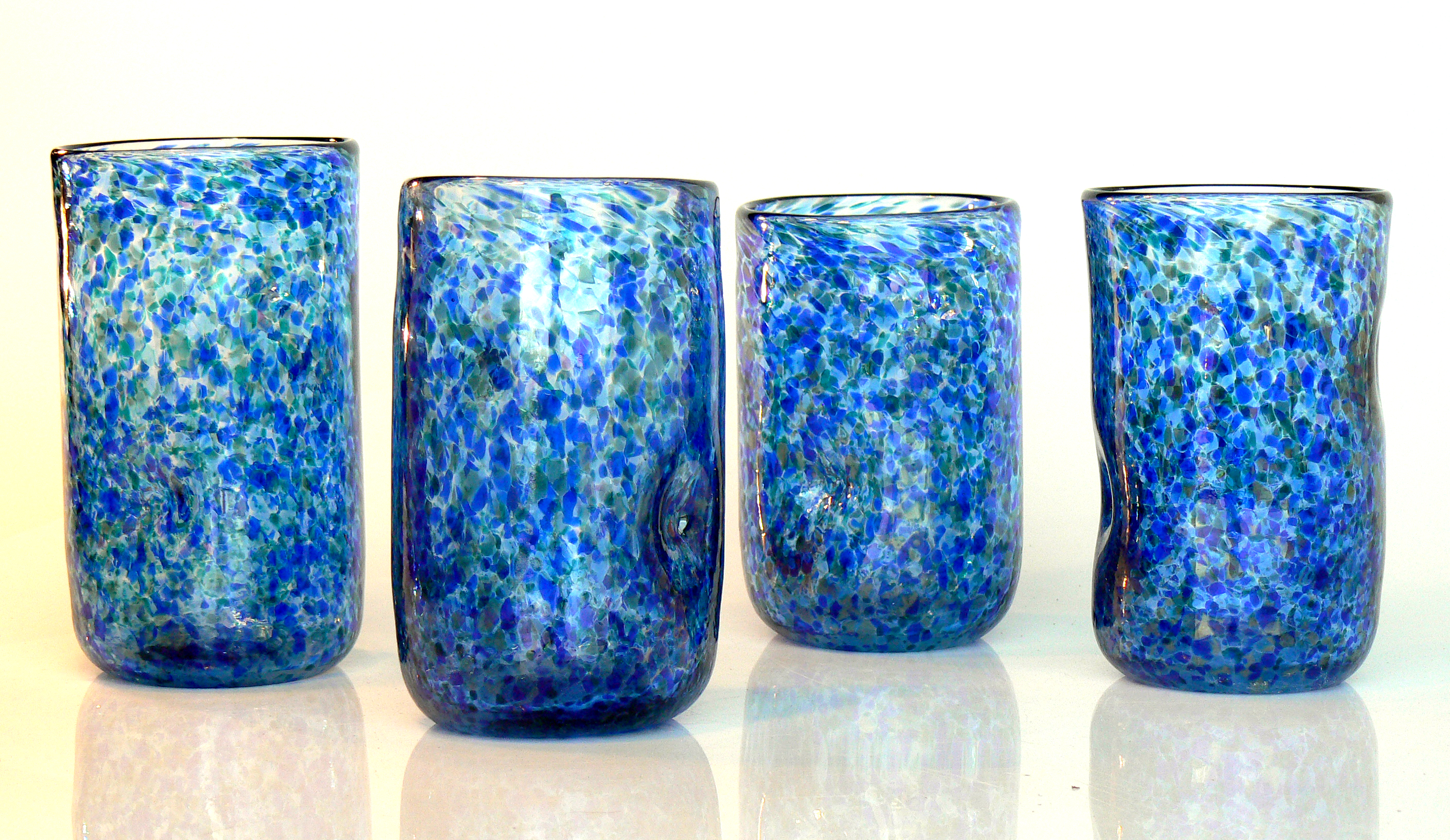 blue tumblers with finger holds