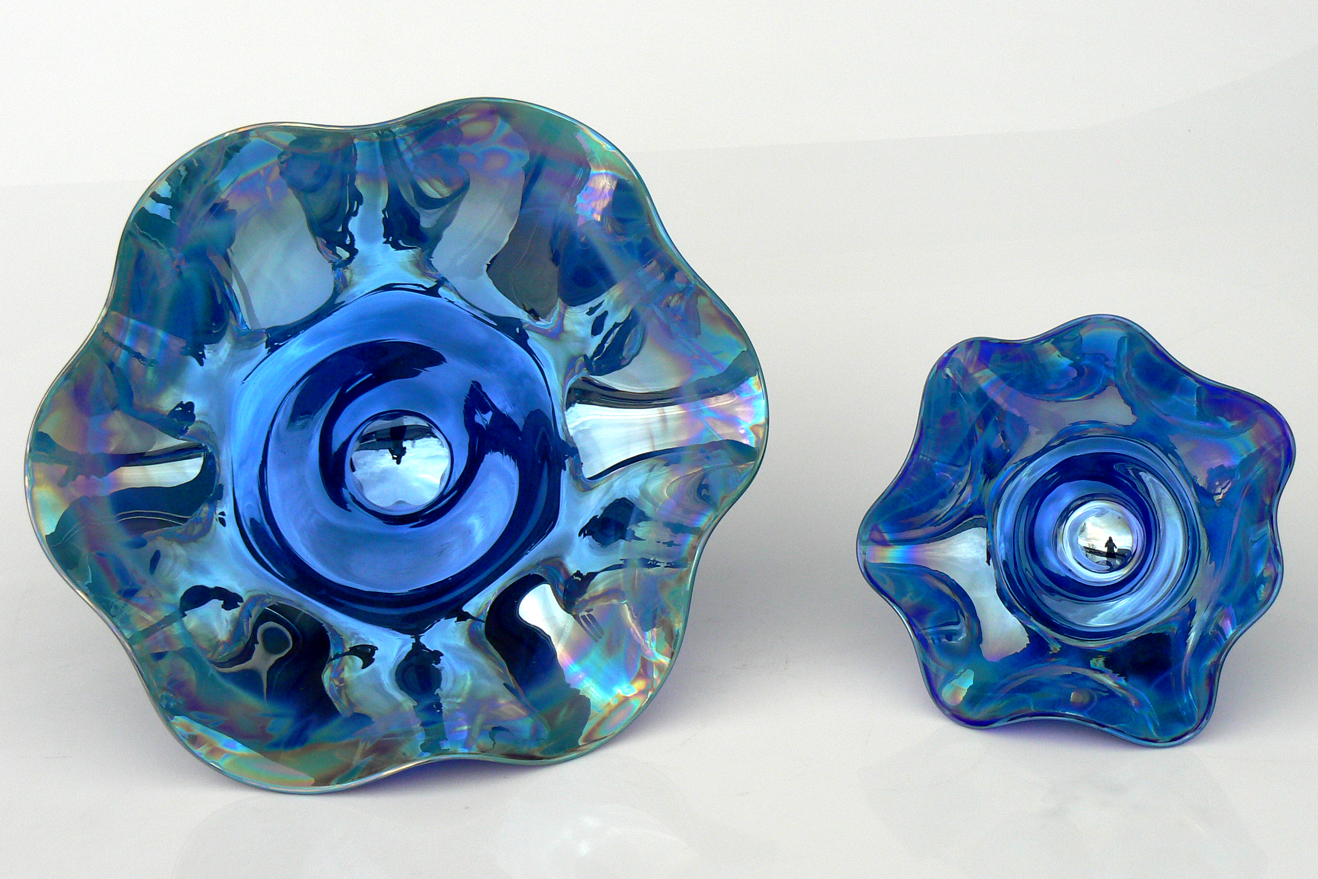 dk blue metallic candy dishes