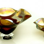 gold brown candy dishes