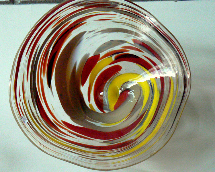 red, yellow, brown bowl or platter