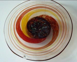 red, yellow, orange platter