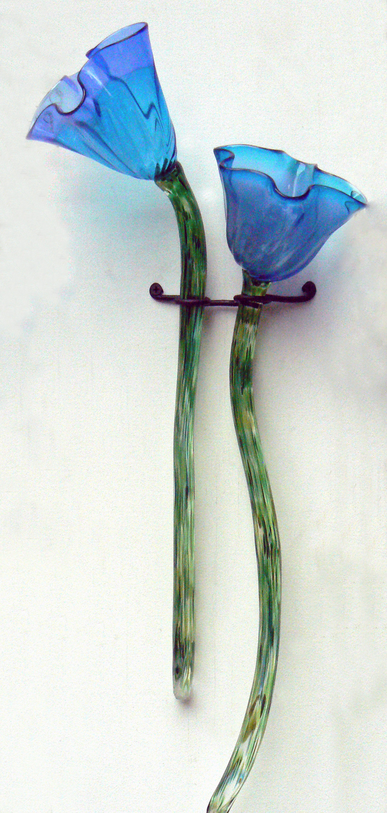 fluted blue flowers with iron